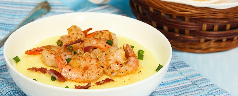 Shrimp and grits at restaurant.