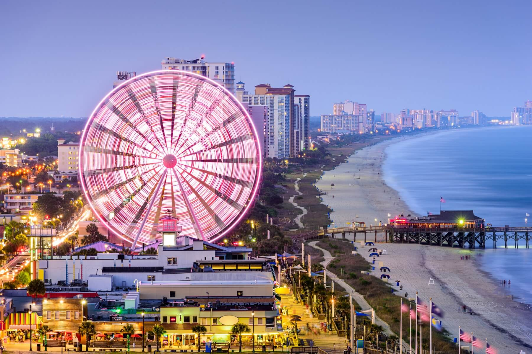Myrtle beach at night
