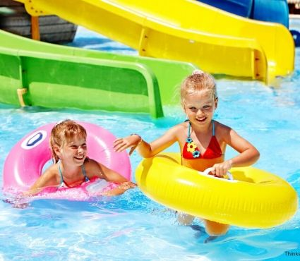 kids at water park in floats