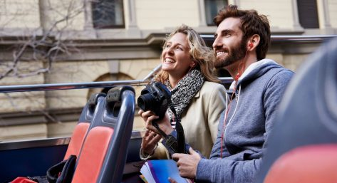 Couple on a bus tour